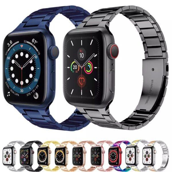 Pulso en acero para reloj Apple Watch, 38/40/42/44mm, Series 1,2,3,4,5,6,SE